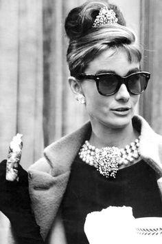 "Audrey Hepburn on set of ""Breakfast At Tiffany's"" in 1961"