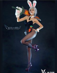 Game League of Legends LOL Cosplay Costume Bunny Girl Riven Dress Sexy Outfit | eBay
