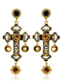 DOLCE & GABBANA - MEDIUM CROSS DROP EARRINGS