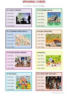 SPEAKING CARDS (I can see someone +ing .) worksheet - Free ESL printable worksheets made by teachers SPEAKING CARDS (I can see someone +ing .) worksheet - Free ESL printable worksheets made by teachers English Games, English Activities, Language Activities, Teaching English Grammar, English Language Learners, English Vocabulary, English Lessons, Learn English, Ingles Kids