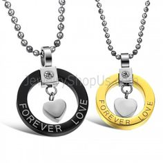 """Titanium Black and Gold """"Forever Love"""" Lovers Pendants with Rhinestones and Free Chains 280 - Titanium Jewelry Shop Necklace Price, Love Necklace, Simple Necklace, Heart Pendant Necklace, Bar Necklace, Couple Necklaces, Couple Jewelry, Titanium Jewelry, Jewellery Uk"""