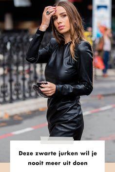 Deze zwarte jurken wil je nooit meer uit doen | LBD | girl | woman | balck dress | shop now | styling | style | fashion | leather | streetstyle | milan | paris | london Lbd, Buy Now, Fall Winter, Leather Jacket, Punk, Jackets, Stuff To Buy, Outfits, Black