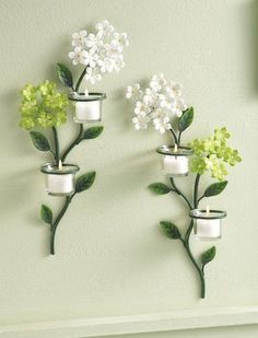 2PC Floral Blooms Wall Tealight Holder 3D Metal Leaves Flowers Wall Decor