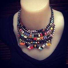 NEW YORK  hand painted rhinestone statement bib necklace #statementnecklace #bibnecklace