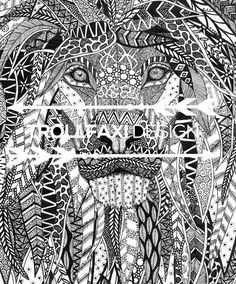 Download Print  PDF Lion Print  Safari Drawing  Lion Art
