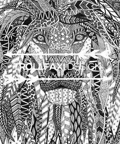Download Print  PDF Lion Print  Safari Drawing  Lion Art