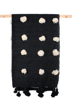 Black Wool Super Pom Pom Blanket