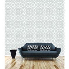 8 in. W x 10 in. H Origin Grey Quatrefoil Wallpaper Sample