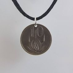 1983 South Africa Coin Necklace, 10 Cents, Coin Pendant, Men Necklace, Womens Necklace, Leather Cord, Vintage, 1982, 1983, 1985 Coin Jewelry, Coin Necklace, Washer Necklace, Unique Jewelry, Pendant Necklace, Coin Pendant, Leather Cord, Coins, Trending Outfits
