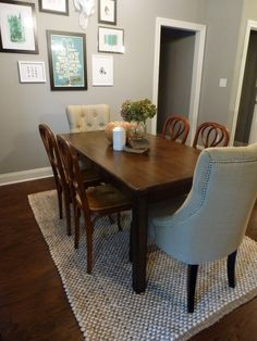 Dining Room. Grey Dining Room Rug Lays Down On Brown  Floor Under Wooden Table Plus Soft Chairs LOVE the chairs on end
