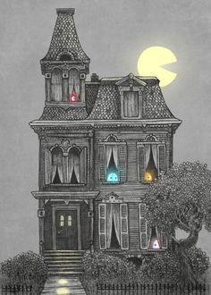 Haunted by the Hand-crafted Unique metal posters by Terry Fan, Each purchased you plant 10 trees. Spooky House, Halloween Haunted Houses, Halloween House, Halloween Art, Happy Halloween, Halloween Village, Halloween Stuff, Max Ernst, Piet Mondrian