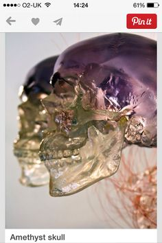 Reputedly carved many centuries ago, it is a mystery how these quartz crystal skulls were formed, as even now this is incredibly difficult to do, even with modern technology ~ made of 'Amatrine ' ~ taken from where the Citrine deposit meets the amethyst deposit.