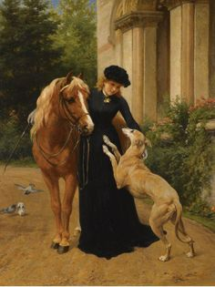 George Augustus Holmes - lovely portrait of a woman with her beloved horse and greyhound Old Paintings, Animal Paintings, Beautiful Paintings, Horse Paintings, Pastel Paintings, Painted Horses, Greyhound Kunst, Horses And Dogs, Equine Art