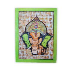Allow your walls to spread out Divinity through the utmost benevolence of our Ganesha Face Painting. Lord Ganesha's Face don't just symbolize his brave and protective attributes, but also preaches of High Thinking and Wisdom. Be the residence of Serenity and Wisdom with help of our Devotional Paintings which are must have to sustain the calm and balance of your life. Buy now to add a pinch of heaven in your home decor collection! SKU YNHDHP04_11 Weight 230 grams Height  16 Inches &#x...