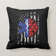 EMT Firefighter Shirt Firefighter EMT American Fla Throw Pillow firefighter party ideas, firefighter theme, firefighter love #culvercityfiredepartment #culvercityfire #ff, back to school, aesthetic wallpaper, y2k fashion