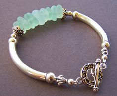 Mermaid Bracelet - Sea Glass with Sterling Silver Tube Bracelet