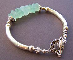Mermaid Bracelet - Sea Glass with Sterling Silver Tube Bracelet