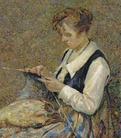 Woman Knitting - John Edward Costigan 20th century