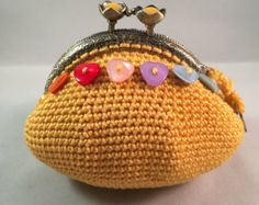 Dark olive crochet coin purse with crocheted and от LozArts