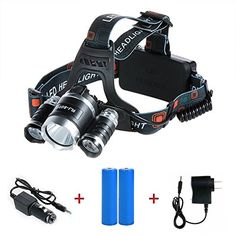 Camping Headlamps - Noza Tec Led Headlamp 5000Lumen 4 Mode Head Lamp 3 CREE XML T6 Waterproof Headlight with 218650 Rechargeable Battery  AC Charger  Car Charger For Outdoor Camping Biking Hunting Fishing *** Want to know more, click on the image.