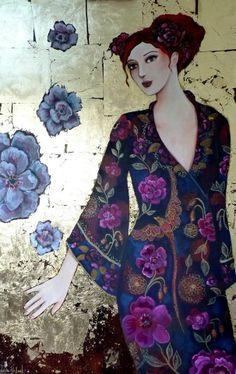"""Grande toile 100x65 cm..fond en dorure à la feuille..et kimono symbole avec le phénix stylisé.""""Les rêves de soie"""".. Loetitia Pillault"""