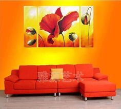 Decorative painting No Frames hand painting oil painting mural poppy flower $65.99
