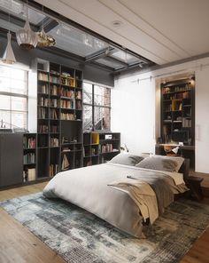 Книжные полки в спальнях