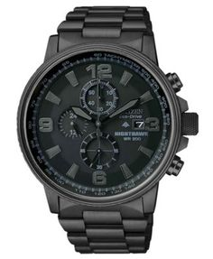 Citizen Watch, Men's Chronograph Eco-Drive Nighthawk Black Ion Plated Stainless Steel Bracelet 43mm CA0295-58E