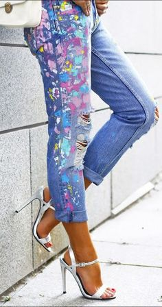 I need to do this with some of my jeans... Since they already have paint stains