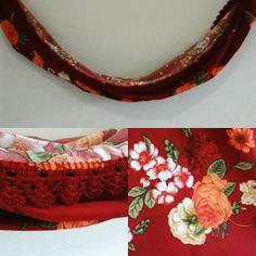 Rede com estampa floral e detalhe em crochê na cor marsala. - #rede #crochê #crochet #Artesanato #ArtesanatoPraUsar #marsala