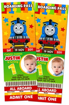 Thomas the Tank Engine-Thomas the tank engine, thomas the train ticket invitation, photo ticket, boy invitation.