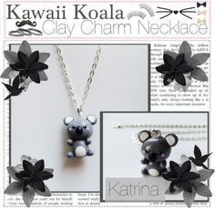 """""""Kawaii Koala Clay Charm Necklace"""" by the-tip-girly ❤ liked on Polyvore"""