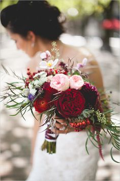 Lovely deep red and pale pink bouquet captured by Floataway Studios for #wchappyhour
