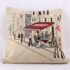Obliečka na vankúš Beige Cafe in Paris, cm Paris Cafe, Throw Pillows, Beige, Vintage, Toss Pillows, Parisian Cafe, Cushions, Decorative Pillows, Vintage Comics