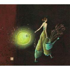 "Carte Gaëlle Boissonnard ""Femme arrosoir"" New 14x16 cm"