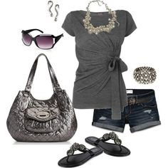 """me :)"" by mistyleigh on Polyvore - Type 2, Soft Natural casual summer outfit - charcoal grey and silver"