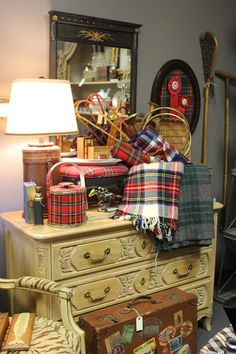 Romancing the Home - September 2013 pop up store. Loving the tartan stool and ice bucket.