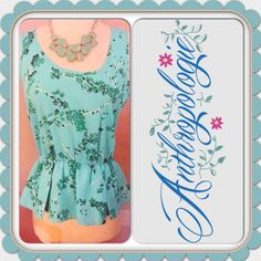 ✳️ANTHROPOLOGIE FLORAL PEPLUM TOP~NWT ❇️ ANTHROPOLOGIE ASIAN FLORAL PEPLUM TOP ~ Dress up or down ~  Trades or Holds ✅ Use offer option ❤️ Bundles Anthropologie Tops