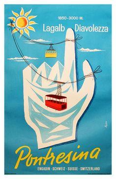 Pontresina Lagalp Diavolezza Travel Poster by Kalken door WallArty