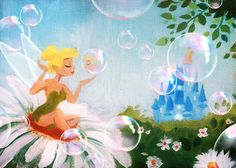 This original #DisneySide Doodle by Ty Amato shows Tinker Bell primping before a day at in the parks.