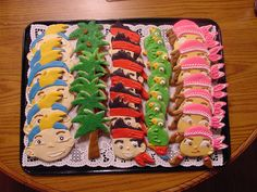 Jake and the Neverland Pirates cookies-I used coloring book figures and cut out with knife-could not find cookie cutter