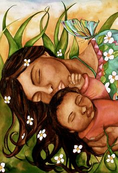 Mother and baby with flowers, via Etsy.