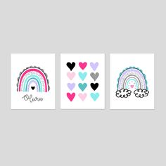 Rainbow Room Decor for Girls Room Decor, Rainbow Wall Art, Rainbow Bedroom Decor, Heart Decor, Set of 3 Rainbow Prints or Rainbow Canvas Art Rainbow Bedroom, Rainbow Wall, Rainbow Print, Woodland Nursery Prints, Woodland Animal Nursery, Rainbow Decorations, Heart Decorations, Unicorn Print, Bathroom Art