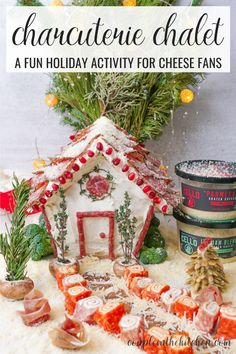Charcuterie chalets are this season's how new trend! 🏠 🧀 We built this house with salami and sausage and topped it with Cello Cheese Grated Parmesan! The rind of the Pumpkin Spice Fontal Cheese made perfect sidewalk pavers and their Copper Kettle Cheese made the base of our pine tree, complete with pepito seeds for tree limbs! 🎄Pick up these delicious cheeses and create your own chalet! #CelloCheese @cellocheesebrand Holiday Fun, Holiday Ideas, Christmas Time, Christmas Crafts, Charcuterie Ideas, Charcuterie Board, Gingerbread Houses, Christmas Gingerbread