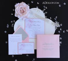 Unique Romatic Light Pink & Silver Sparkling Rose Boxed Wedding Invitation - Vintage  Silver  White  Sparkle  Bling