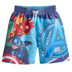 Boys 4-7 Marvel Avengers Iron Man, Hulk & Captain America Swim Trunks, Boy's, Size: 4-5, Blue