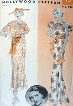 ART DECO EVENING DRESS GOWN PATTERN 2 STYLES CAPELET or SHORT PUFF SLEEVES, SLIM GORED SKIRT LOW FLARE, Hollywood Patterns featuring Warner Brothers movie Star Ruby Keeler, # 947, circa 1930s
