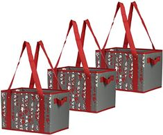 Amazon.com: Reusable Grocery Bags Set Shopping Box with Reinforced Bottom Heavy Duty Premium Collapsible Foldable with Long Handles Storage Boxes Eco Friendly Bins Cubes (Set of 3) (Holiday/Berries): Shoes Reusable Shopping Bags, Reusable Bags, Storage Boxes, Easy Storage, Utility Tote, Produce Bags, Box Bag, Green Bag, Folded Up