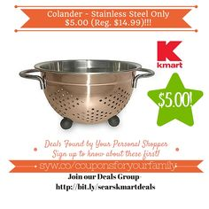 Kmart Retail Deals: Colander - Stainless Steel Only $5.00 (Reg. $14.99) - http://www.couponsforyourfamily.com/kmart-retail-deals-colander-stainless-steel-only-5-00-reg-14-99/