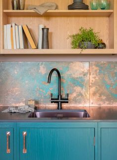 10 Beautiful Rooms - Mad About The House - 10 Beautiful Rooms: the new copper splashback from Naked Kitchens - Copper Kitchen, Wooden Kitchen, Ikea Kitchen, Kitchen Furniture, Kitchen Decor, Kitchen Centerpiece, Kitchen Ideas, Centerpiece Ideas, Metal Kitchen Cabinets